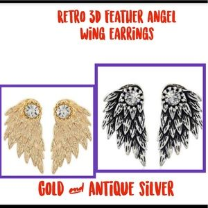 Retro Feather 3-D angel wing Earrings NWT